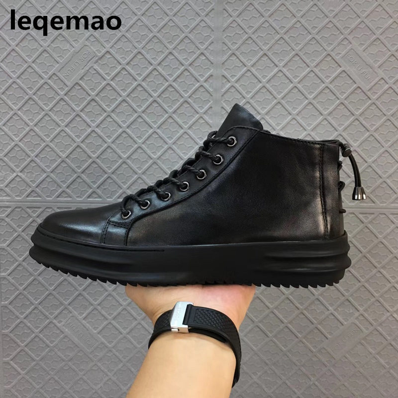 Hot Sale New Arrival Winter Warm Fur Inside Men Casual Shoes Oxford Genuine Leather Lace-up High Youth Ankle Man Shoes Black 44 merkmak hot sale men flats shoes oxfords genuine leather spring winter fur wam breathable man casual outdoor shoes bigsize 37 48
