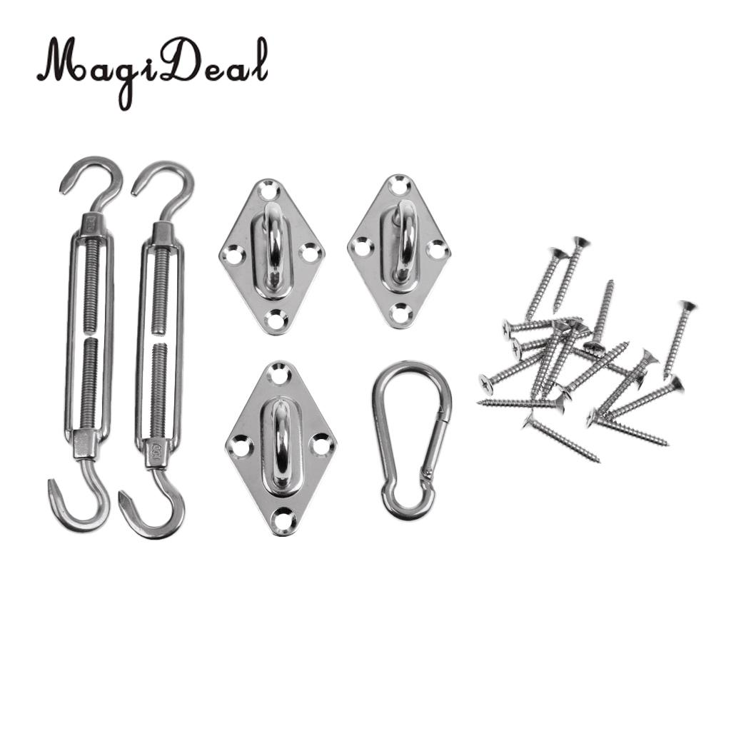 MagiDeal Sun Shade Sail Canopy Accessory 304 Stainless Steel Hardware Kit - Turnbuckle Pad Eye Carabiner Clip Hook Screws Silver esspero canopy
