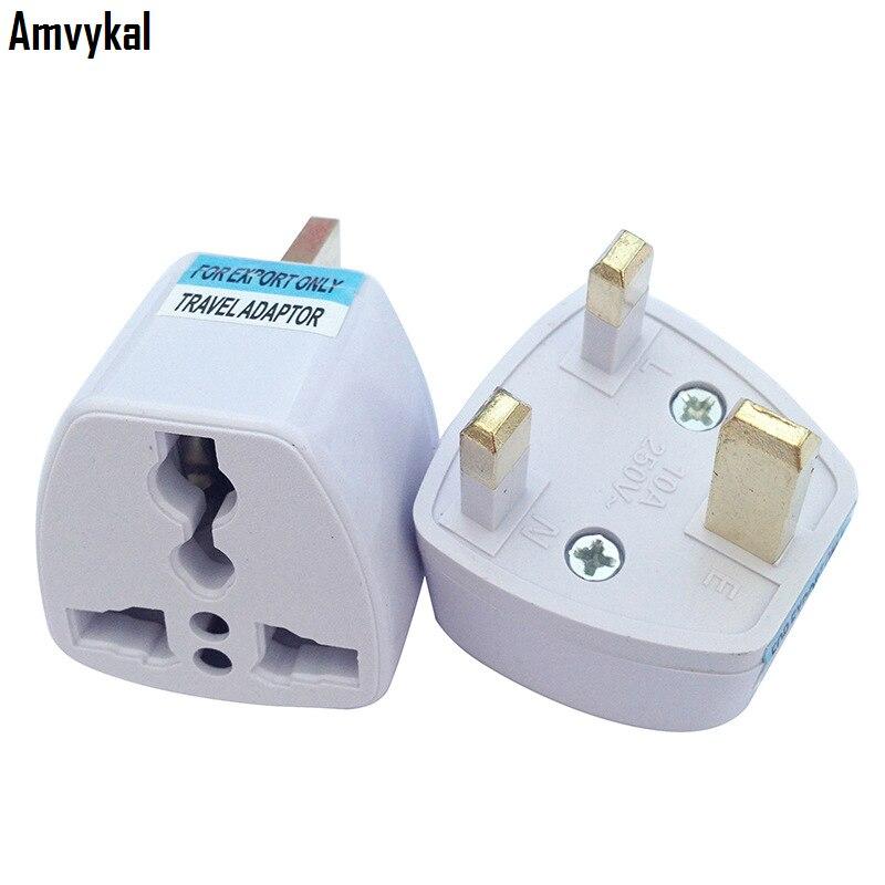 Amvykal UK Travel Charger Adaptador Universal AC Power Electrical Plug AU/EU/US To UK Plug Adapter Converter 500 Pcs/lot