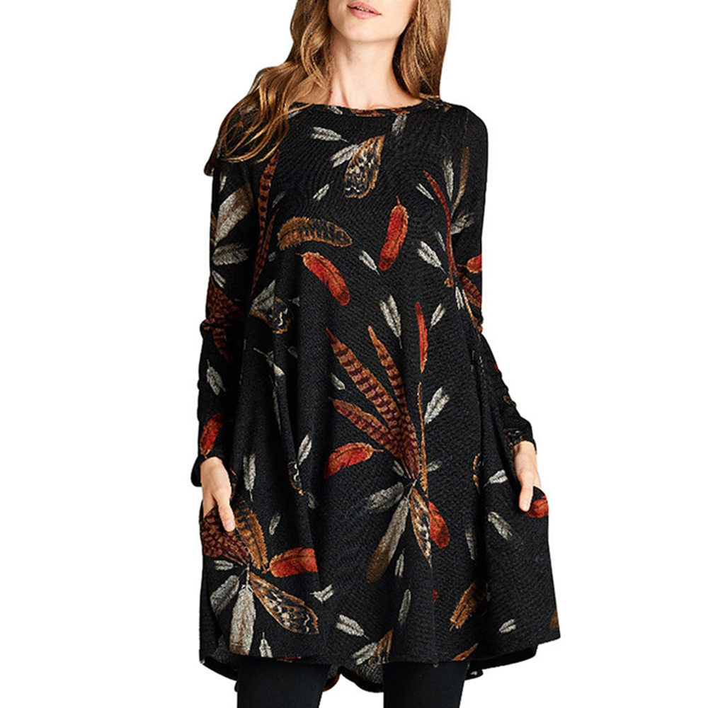 Women Casual Plus Size Dress Autumn Winter A Line Round Neck Pullover Print Western Style Empire Girls Fashion Oversize Dress