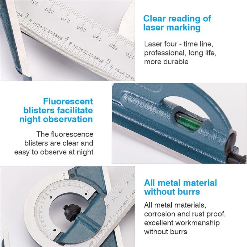Combination Protractor Measuring Ruler Set
