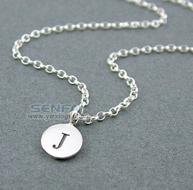 Tiny round alphabet letter personalized initial charm pendant silver initial disc necklace silver chain letter pendant necklace fashion necklace for women 2014 hand stamped aloadofball Image collections