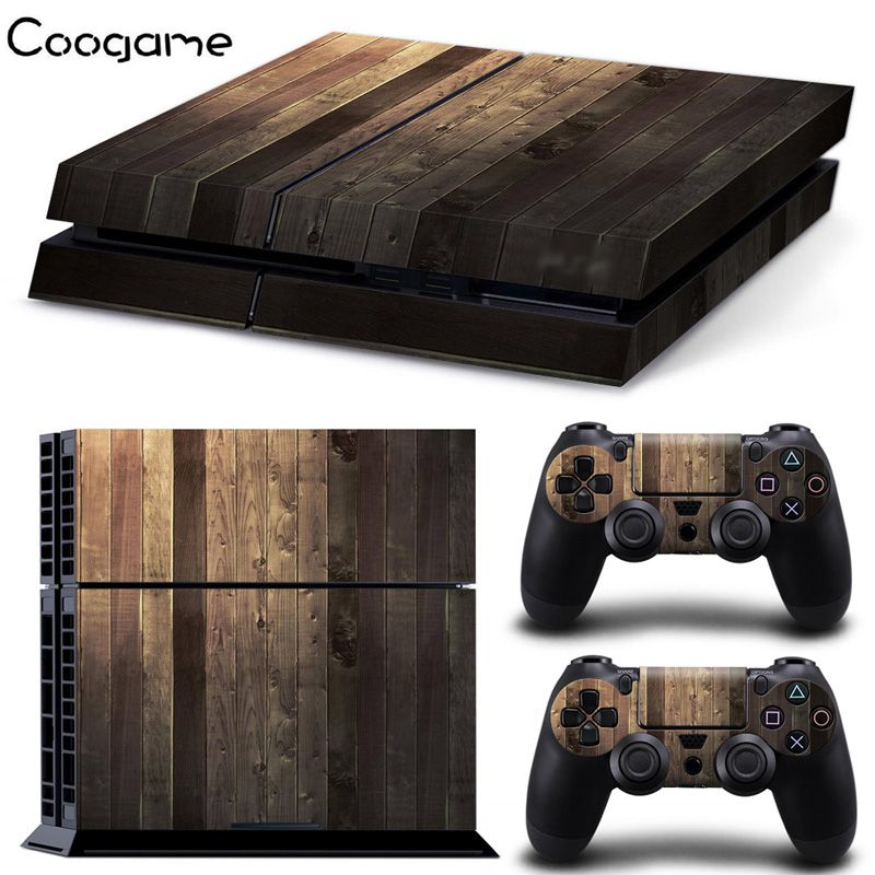 Wholesale 5 Pcs Wood Grain Style PVC Skin Sticker For Sony PS Playstation 4 Console Decal For PS4 Protector Controller