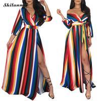 Rainbow Colorful Stripe Maxi Dress Summer Women Off Shoulder Wrap V Neck Long Sleeve Keyhole Back Side Slit Party Dress Vestidos