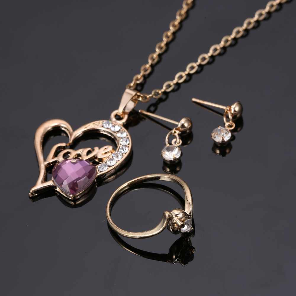 Fashion Gold Jewelry Engrave Love Heart necklace purple crystal Necklaces Jewelry Set For women wedding Party Engagement Jewelry