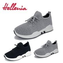 کفش ورزشی کفش ورزشی Helleniagilrs در فضای باز نفس نفس نفس تخت در حال اجرا کفش کفش گاه به گاه زنان توری تا اندازه خاکستری سیاه و سفید 36-40