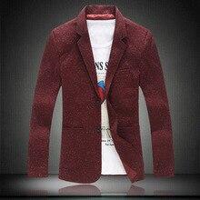Men Knitting Blazer Suit Fashion Blazer Masculino Slim Casual Jacket Knitted Men England Blazer Masculino 5XL Men Blazer 3Colors
