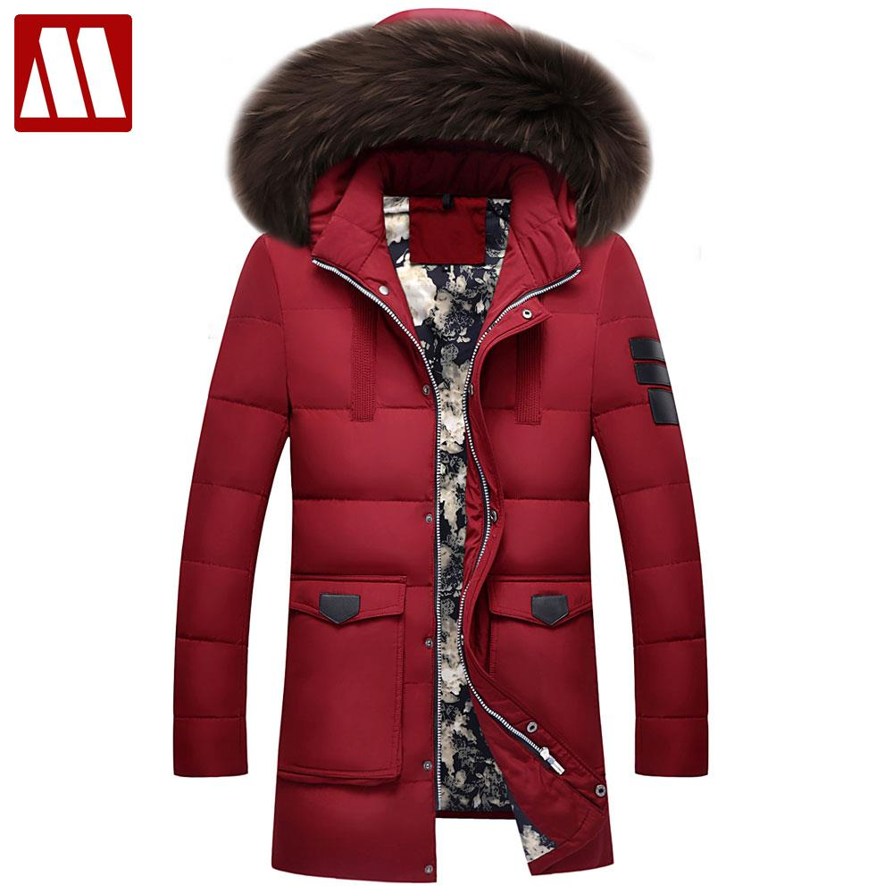 2018 Thick Warm Winter Duck Down Jacket For Men Waterproof Fur