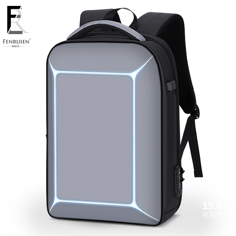 FRN Three dimensional TSA Lock Anti theft Men 15.6 inch Laptop Backpack USB Charging Business Waterproof Casual Travel Backpack