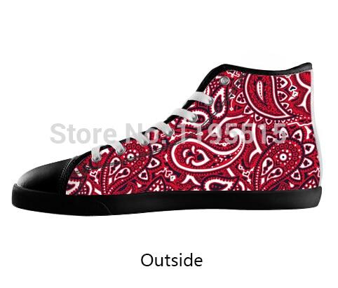 7269ac860df2d Red Bandana Pattern Fans Shoes Men Black Lace up High Top Canvas ...