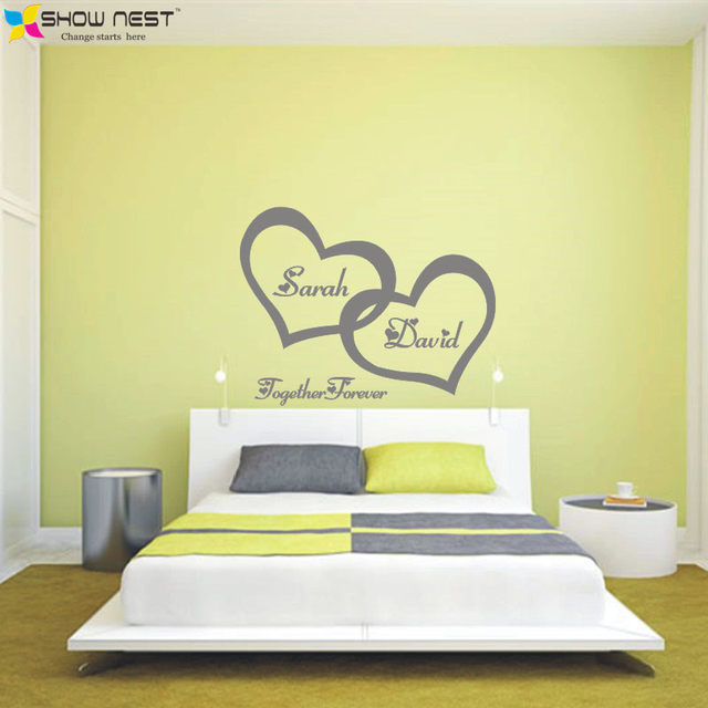 Online Shop Symbol Of Love Forever Wall Sticker Double Heart Custom ...