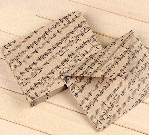 Vintage Melody Notes Design Kraft Envelope Cute Diy Multifunction