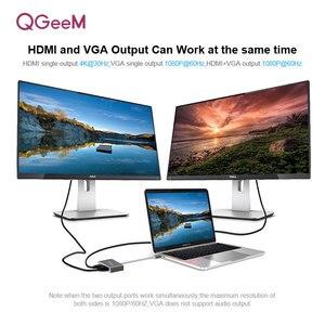 Image 3 - QGEEM USB C HDMI VGA Adapter USB Typ c zu HDMI 4K Männlich zu Weiblich für MacBook Pro chromeBook galaxy S9 Huawei P20 USB C HDMI