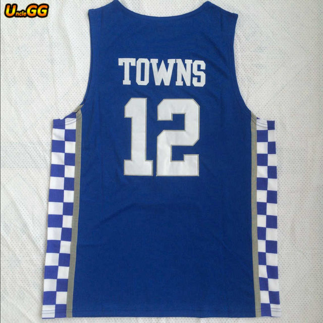 cheaper ae85b 9ef88 Uncle GG Cheap College Karl-Anthony Towns Jersey 12 Karl Anthony Kentucky  Wildcats Basketball Jerseys Embroidery Blue White