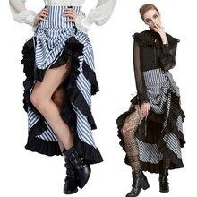 Belle Poque Ретро Женская винтажная полосатая сборная стимпанк Готическая панк суета необычная высокая-низкая юбка модная юбка миди эластичная