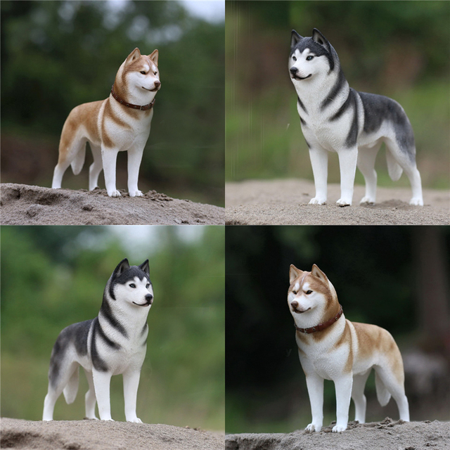 mnotht 1 6 siberian husky model toys simulation pet dog model for 12in action figure