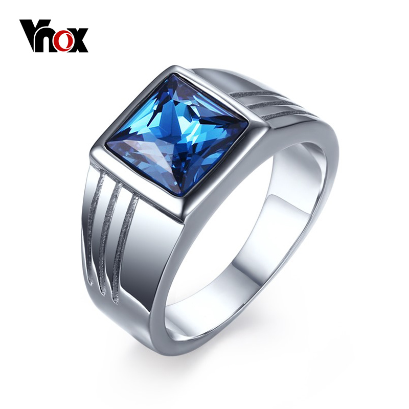 Vnox Blue Cz Zircon Engagement Band Ring For Men Silver