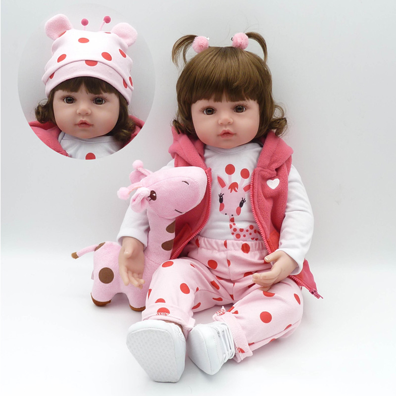 22Doll Toys Soft Cloth Body Silicone Toddler Babies Pink Clothing Full Set Girl Dolls Toys Christmas Gift Bonecas