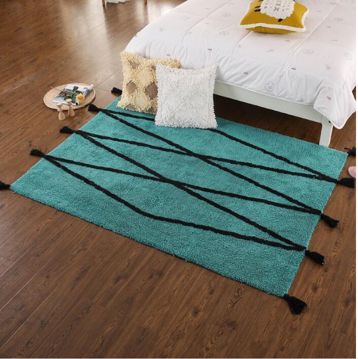 Gland fait à la main américain salon canapé tapis 100% coton tapis thé Table Style Simple matelas avant lit laine tapis.