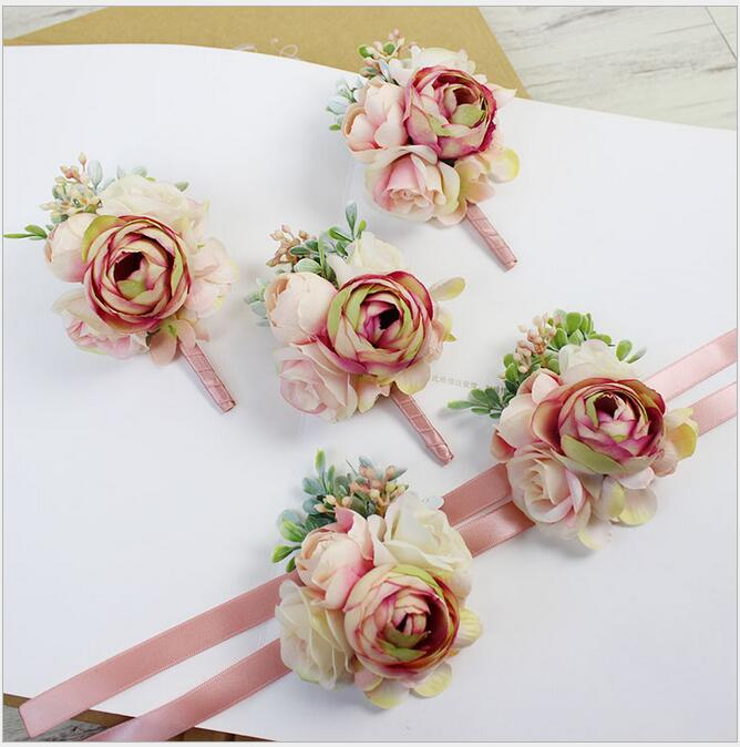 6pcs Diy Pink Corsage Flower Free Shipping Bride Groom Bridesmaids Corsage Brooch Hand Wrist Flower Wedding Photography Props