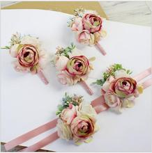 6Pcs DIY pink corsage flower Free shipping bride groom bridesmaids brooch hand wrist wedding photography props