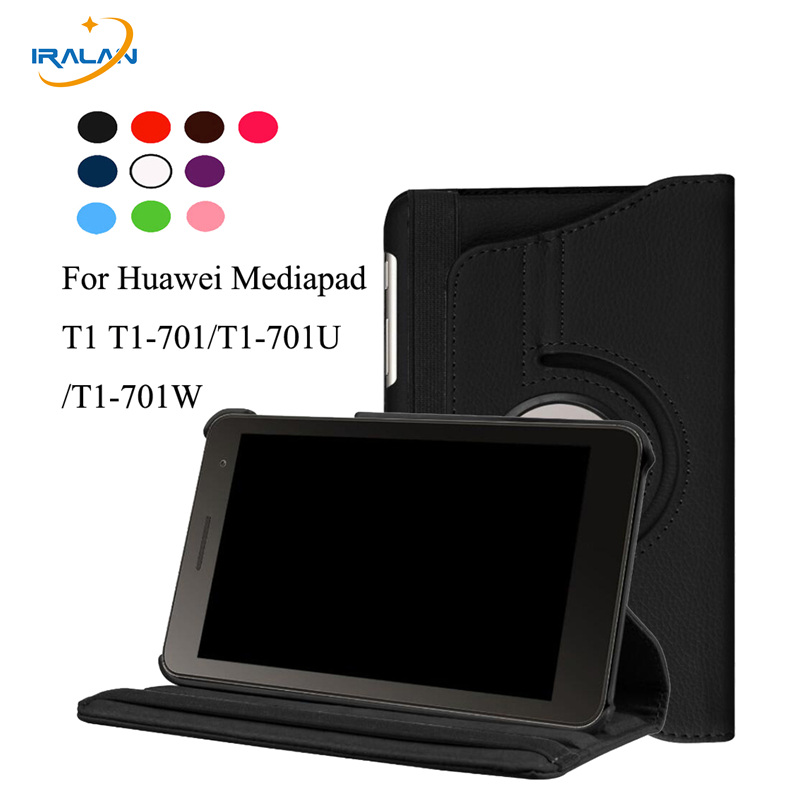 360 Rotating Flip Stand PU Leather Stand Cover For Huawei MediaPad T1 7.0 inch T1-701U T1-701 701U Tablet Protective Case+stylus w 7 classic flip open pu leather case w stand for huawei y300 white