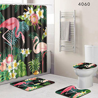 4PCS Flamingo Animal Polyester Pink Shower Curtain Washable Decor Curtains 180x180cm Lid Toilet Cover for Bathroom Shower