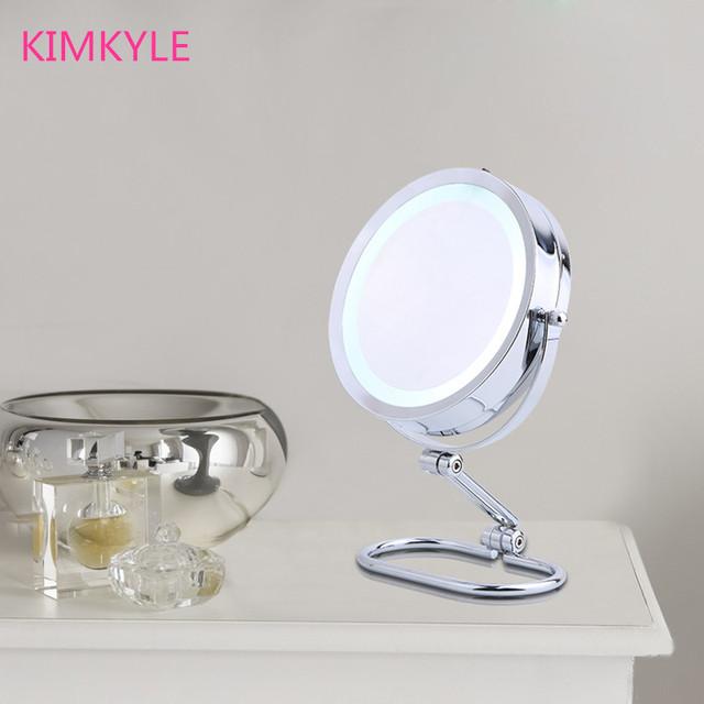7 pulgadas de moda de alta definición con LED de escritorio espejo de maquillaje plegable de Doble cara espejo de aumento 10X dormitorio decoración