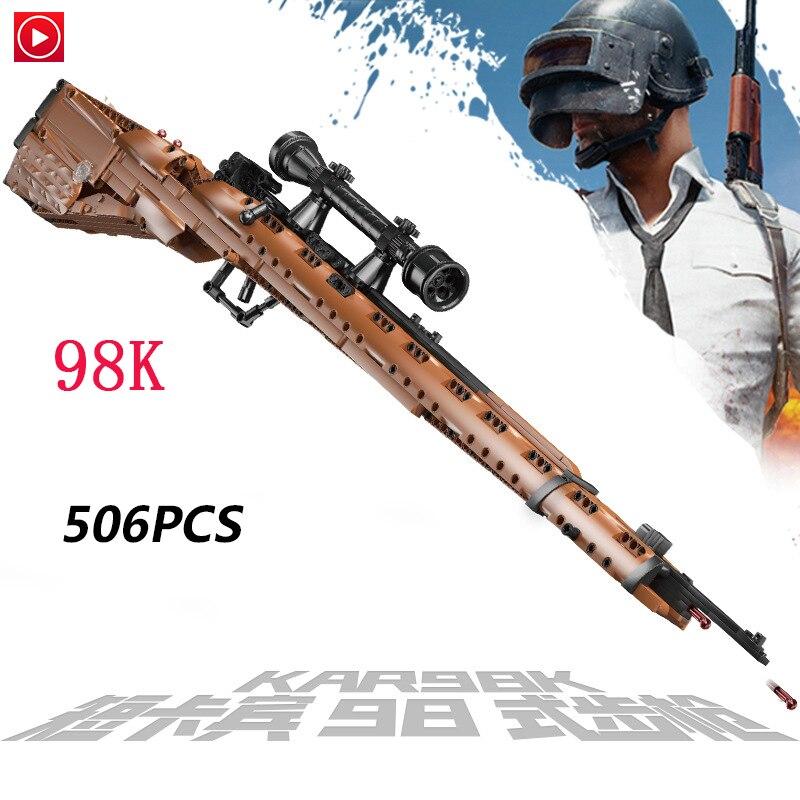 Pistolet technique Legoed armes à feu Lepined fusil de Sniper 98 K AWM feu AK47 Swat armes à feu de manière léchante Kits de jouets briques blocs enfants