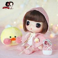 Ddung New Doll Short Hair Pink Cloak Change Dolls Baby Birthday Present Girl Toys Gift Collection Decoration