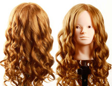 65% human hair 60 CM Mannequin head practice head mold teaching hairdress head mannequin golden hair все цены