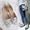 Миссис выиграть Весна Осень Мода Мягкие Кожаные Ботинки Женщина Квартиры Работа Классический Хрустальный Цветок Дамы Случайные Обувь Для Ходьбы