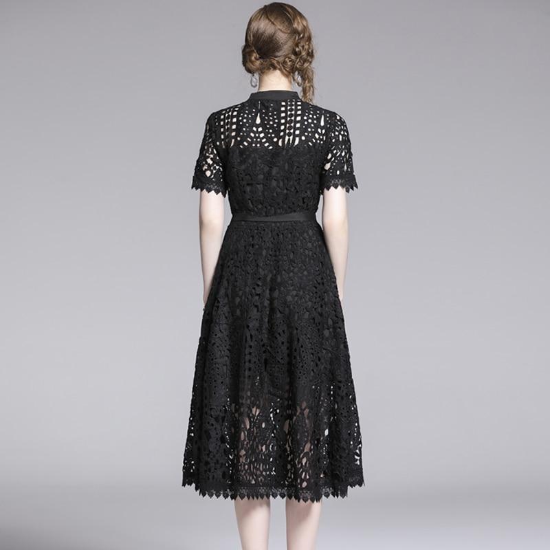 Elegant White Black Lace Hollow Out Dress 5