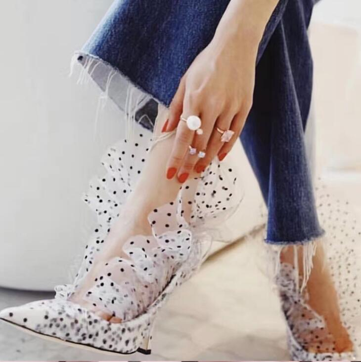 Ladies Sexy Mesh Dot Print Thin Heels Spring New Pumps Female Pointed Toe PVC Dress Party Shoes Woman Slip-on Shoes Women 2019
