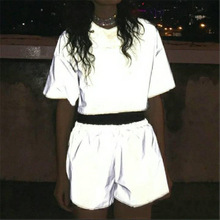 Night Light Reflective Shorts Women Summer Shiny Short Pants Casual Solid Color Mid Elastic Waist Sexy Club Wear