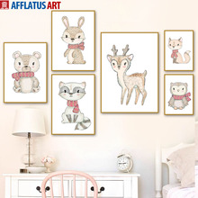 Baby Bear Deer Rabbit Fox Owl Raccoon Nordic Posters And Prints Wall Art Canvas Painting Watercolor Picture Kids Room Decor