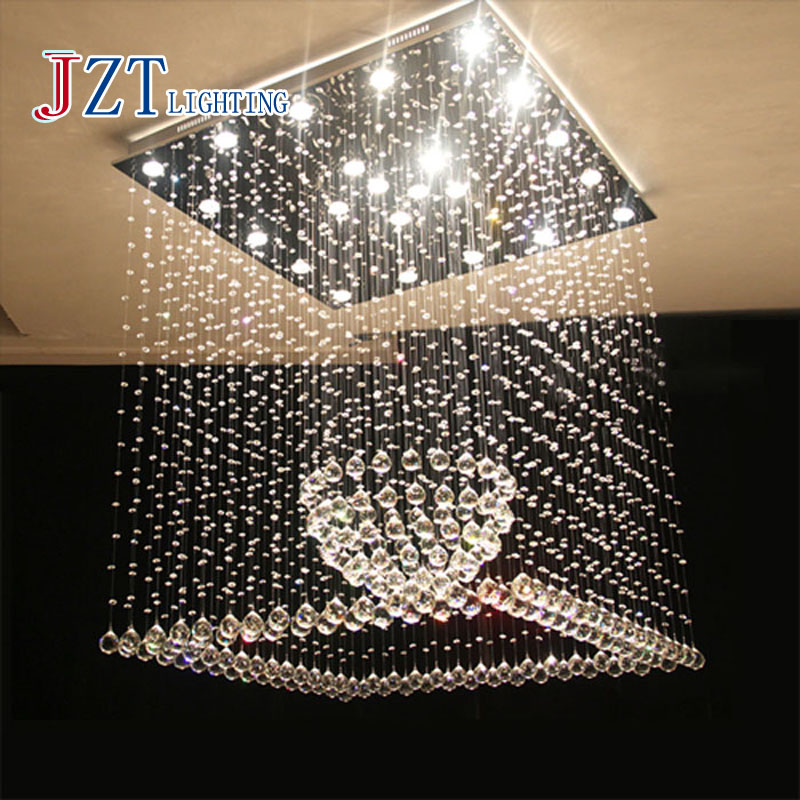Z modern Square K9 Crystal Chandelier Living Room Restaurant Ball Crystal Ceiling Lamp LED Lighting Fixtrue cristal pendant lamp