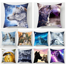 Fuwatacchi 3D Hewan Lukisan Bantal Cover Serigala Liar Tiger Bulan Decor Lempar Bantal Case Sofa Bed Rumah Dekoratif Bantal Cover(China)