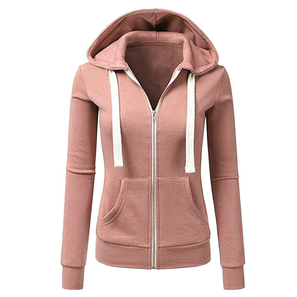 FeiTong   Basic     Jacket   Women Zipper Long Sleeves Patchwork Solid Color Hooded   Jacket   2019 Spring Autumn Female Casual Sporty Coat