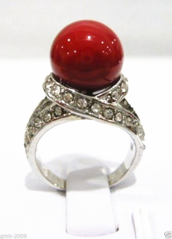 Free shipping >>>>>>Rare 12mm Coral Red South Sea Shell Pearl 18KGP Ring Size 7/8/9 AAA ...