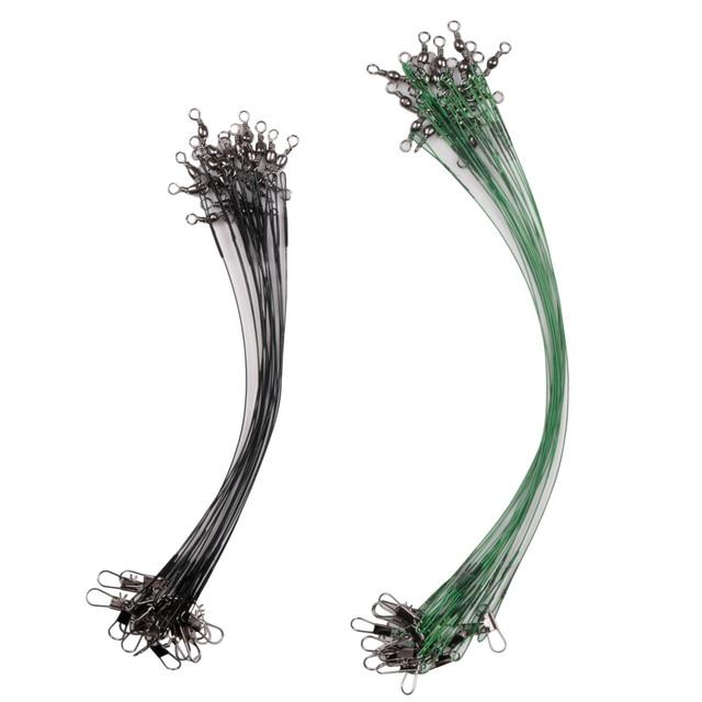 Amazing 20pcs/lot LUSHAZER Fishing Wire Line Leash Lure Fishing Lures cb5feb1b7314637725a2e7: Black|Green|Silver