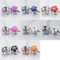 free shipping 8pcs/lot  mix color  enamel cherry blossom clip charm safety bead  fit pandora style bracelet  PBC001