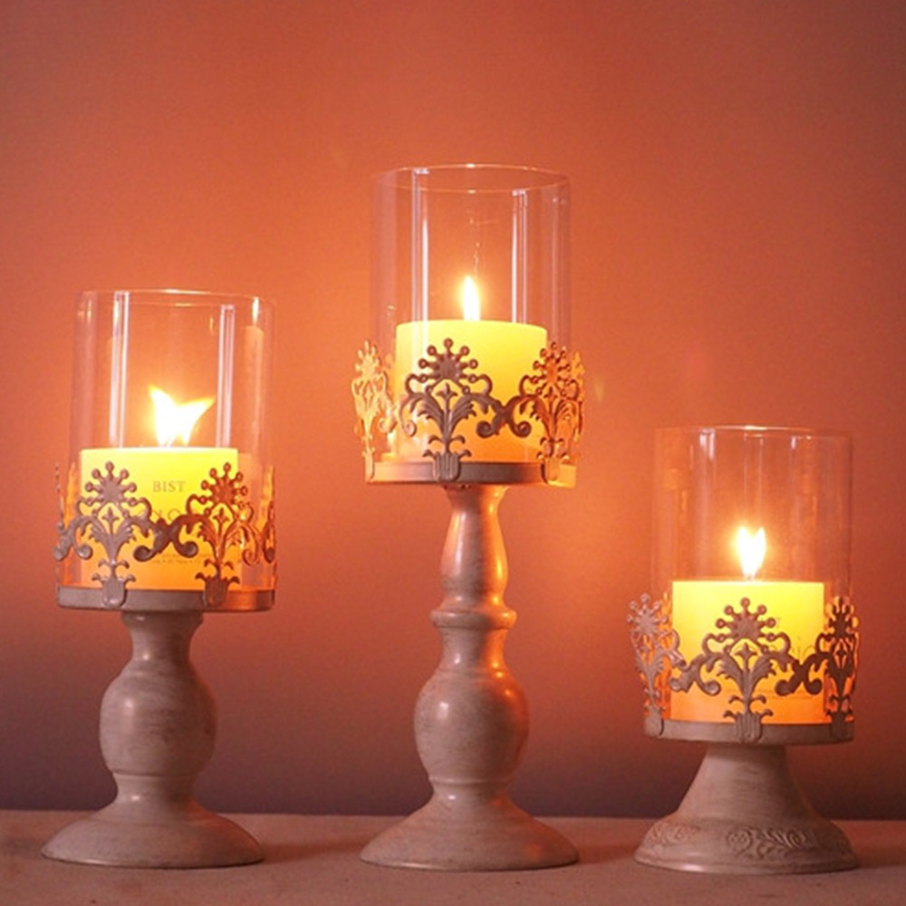 New Candle Holder Cube Stand Candle Candlestick Metal Base Craft large Glass Candles Wedding Candle Holders Desk Decoration in Candle Holders from Home Garden