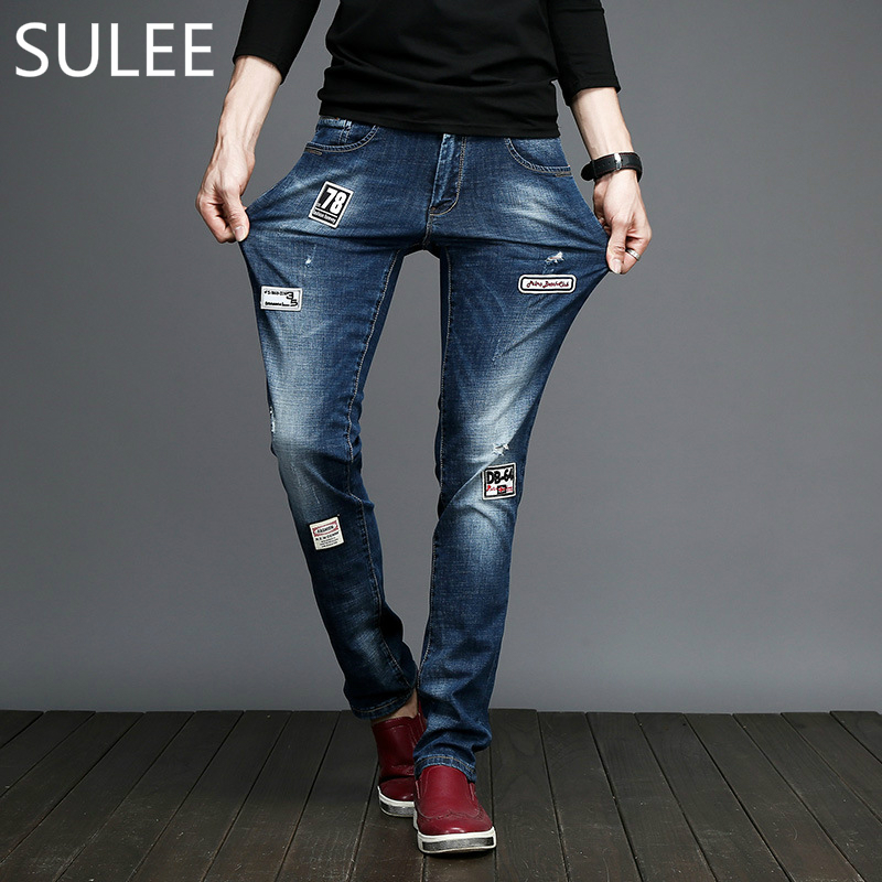 2018 Sulee Zipper Fly Slim Mid Softener Motocycle Denim Trousers Pleated Biker Jeans High Street Patchwork Embroidery Jeans