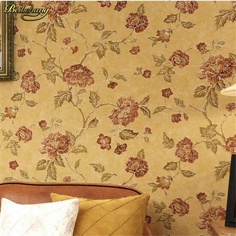 beibehang papel de parede American pastoral countryside retro flower gold foil wallpaper bedroom living room TV backdrop