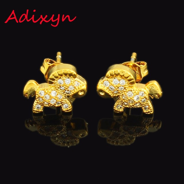 0b7048122 Gold Cute Horse Earrings Fashion Jewelry 24K Gold Color Rhinestone Stud  Earring For African Australia Women Girls