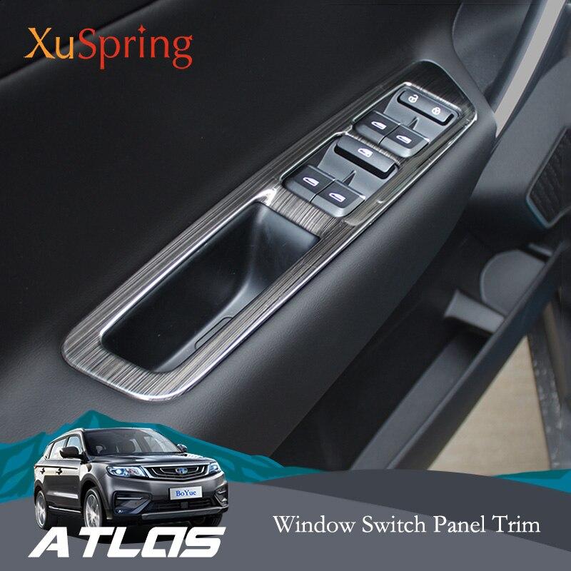 Для Geely Atlas Boyue Emgrand NL 3 Proton X70 2018 2019 LHD переключатель окна автомобиля панель Регулировка крышки отделка наклейки полоса Гарнир Лепнина для интерьера      АлиЭкспресс