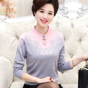 Image 3 - Women Cashmere Sweater V Neck Autumn Middle aged Mother Pullovers Fashion Slim Knit Coat Female Blouse Large Size Knitwear W1085
