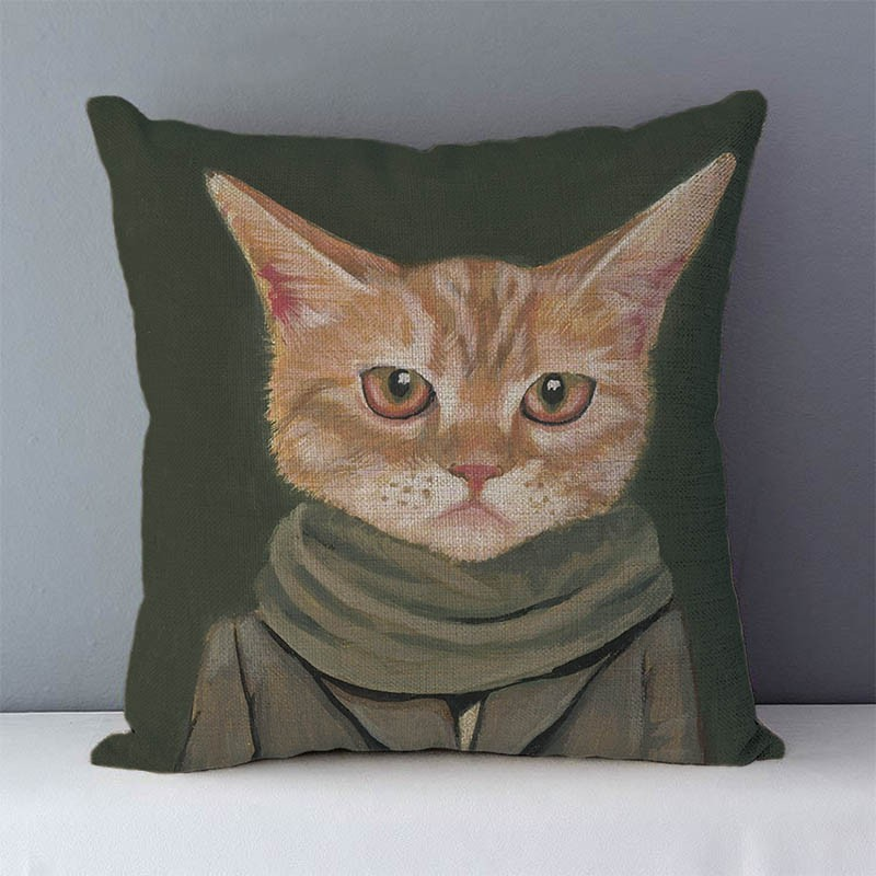 HTB1Y21kXfvsK1Rjy0Fiq6zwtXXaH Selected Couch cushion Cartoon cat printed quality cotton linen home decorative pillows kids bedroom Decor pillowcase wholesale