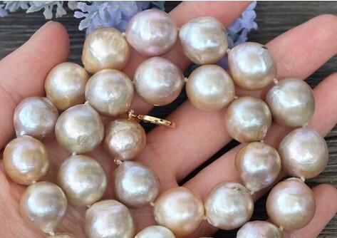 Collier de perles baroques Edison nucléées violet naturel